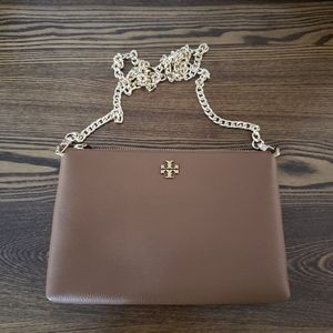 Tory Burch Kira Pebbled Leather Crossbody - Cognac